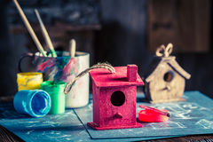 Project of home for birds in wooden workshop Royalty Free Stock Photos