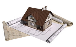 Project of house. Project cottage. bottom of the sheets of the drawings. 3d illustration Royalty Free Stock Image