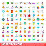 100 project icons set, cartoon style. 100 project icons set in cartoon style for any design vector illustration Stock Illustration