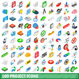 100 project icons set, isometric 3d style. 100 project icons set in isometric 3d style for any design vector illustration Royalty Free Stock Photos