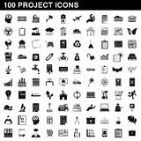 100 project icons set, simple style Stock Photo