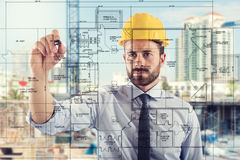 Project of interiors of build. Project of construction of interiors of build royalty free stock images