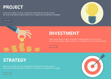 Project, investment, strategy banners. Flat design concepts for business, finance, strategic management, investment, consulting, teamwork, project. Concepts for vector illustration