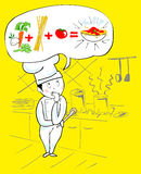 Project of the Italian chef. Illustration showing a cook in his kitchen, while designing the next dish to prepare. His thought is displayed in a balloon, where Stock Photos