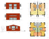 Project of the living house. Drawing: plans and facade of the living house, cottage Stock Image