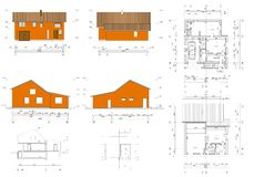 Project of the living house. Architectural drawing: plans, facade of the living house, bungalow Royalty Free Stock Images