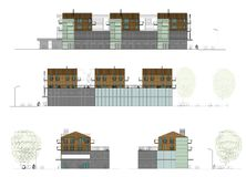 Project of the living house with a shop. Drawing: facade of the living house, cottage Royalty Free Stock Photography