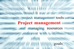 Project Management. Tools, resources, goals Stock Photography