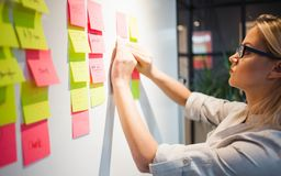 Free Project Management, Agile Methodology. Young Business Woman In The Office Are Working On A Startup. Royalty Free Stock Photos - 166008538