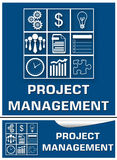 Project Management Blue White Set. Project management concept image with a grid containing business symbols Royalty Free Stock Photos