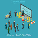 Project management business coin money flat  isometric 3d. Project management business isometry concept flat 3d isometric web infographics  illustration Stock Photos