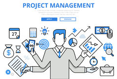 Project management business concept flat line art vector icons Stock Images