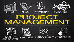 Project management with business elements Royalty Free Stock Photos