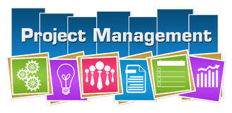 Project Management Business Symbols Colorful Squares Stripes. Project management concept image with text and related symbols Royalty Free Stock Images