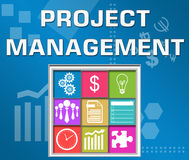 Project Management Business Theme Square. Project management concept image with text and conceptual elements Royalty Free Stock Images