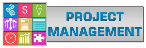 Project Management Button Style. Project management concept image with text and conceptual elements Royalty Free Stock Image