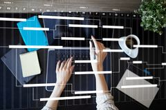Project management chart on virtual screen. Schedule. Timeline. Project management chart on virtual screen. Schedule. Timeline stock illustration