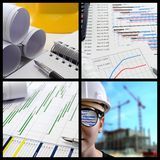 Project management collage. Construction project management collage Stock Photo