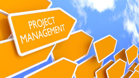 Project management concept arrows in front of blue sky. Multiple orange arrow signs pointing in one direction with a cloudy blue sky background project Stock Photos