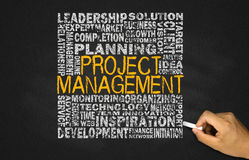 Project management concept. On blackboard Stock Image