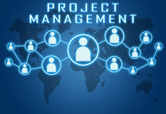 Project Management. Concept on blue background with world map and social icons Stock Photo