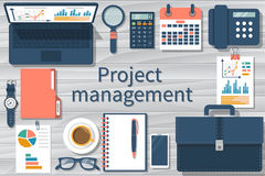 Project management concept. Business document for analysis, planning, financial report, development. Flat design, vector illustration. Top view workplace with Royalty Free Stock Image