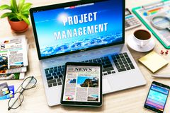 Project management concept. Creative abstract project management business marketing internet web concept: 3D render illustration of laptop with Project Stock Images
