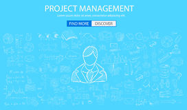 Project Management concept with Doodle design style. People inteview, skill testing, clear selection. Modern style illustration for web banners, brochure and Stock Image