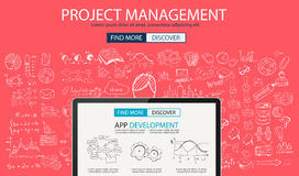 Project Management concept with Doodle design style. People inteview, skill testing, clear selection. Modern style illustration for web banners, brochure and Stock Photos