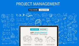 Project Management concept with Doodle design style :people inteview. Skill testing, clear selection. Modern style illustration for web banners, brochure and Stock Photo