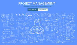Project Management concept with Doodle design style. People, skill testing, clear selection. Modern style illustration for web banners, brochure and flyers Stock Photo