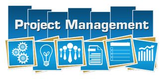 Project Management Business Symbols Blue Squares Stripes. Project management concept image with text and related symbols Stock Images
