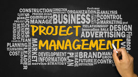 Project management concept with related word cloud Royalty Free Stock Photos