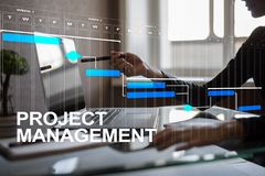 Project management concept, time and human resources, risks and quality and communication with icons on virtual screen.