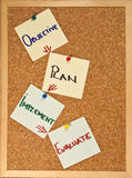 Project management cycle. Post it notes on a wooden board representing the project management cycle Royalty Free Stock Photography