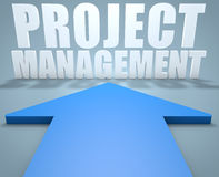 Project Management. 3d render concept of blue arrow pointing to text Royalty Free Stock Images