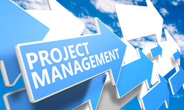 Project Management. 3d render concept with blue and white arrows flying in a blue sky with clouds Stock Photo