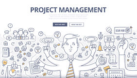 Project Management Doodle Concept. Doodle design style concept of project management, organizing, controlling company resources, risks, achieving project goals