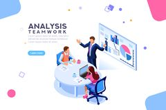 Consulting Team Flat Isometric Banner. Project management and financial report strategy. Consulting team. Collaboration concept with collaborative people Royalty Free Stock Images