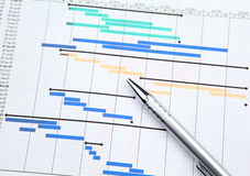 Project management with gantt chart. Close up Stock Image