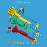 Project management Gantt diagram staff flat vector isometric 3d Stock Photography