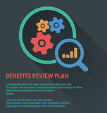Project management icon, benefits review plan icon. Stock Photo