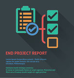 Project management icon, end project report icon. Stock Images
