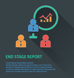 Project management icon, end stage report icon. Stock Image