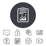 Project management icon. Report document symbol. Accounting file with charts symbol. Calendar, Locker and Speech bubble line signs. Video camera, Statistics Stock Image