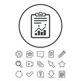Project management icon. Report document symbol. Accounting file with charts symbol. Document, Chat and Paper clip line signs. Question, Pencil and Calendar Royalty Free Stock Image