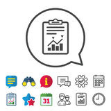 Project management icon. Report document symbol. Accounting file with charts symbol. Information, Report and Calendar signs. Group, Service and Chat line icons Stock Photos