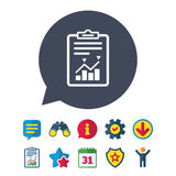 Project management icon. Report document symbol. Accounting file with charts symbol. Information, Report and Speech bubble signs. Binoculars, Service and Royalty Free Stock Images