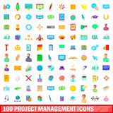 100 project management icons set, cartoon style Royalty Free Stock Photo