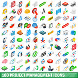 100 project management icons set, isometric style Stock Photos